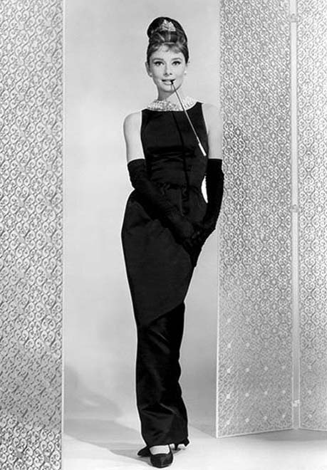 """Hepburn wearing Givenchy's """"Little Black Dress"""" in the film """"Breakfast at Tiffany's"""""""