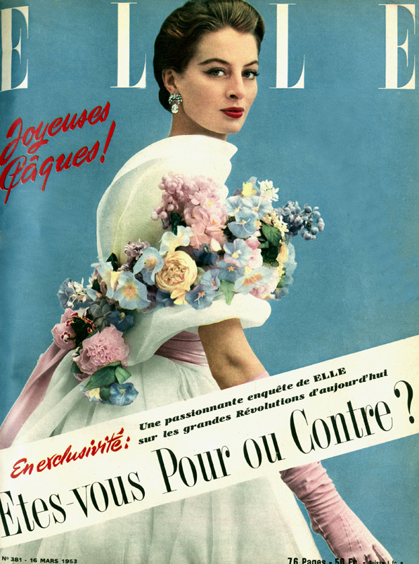Model Capucine wearing Givenchy on the cover of French Elle