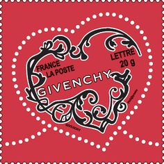 Givenchy designed a Valentine's Day postage stamp for France in 2007