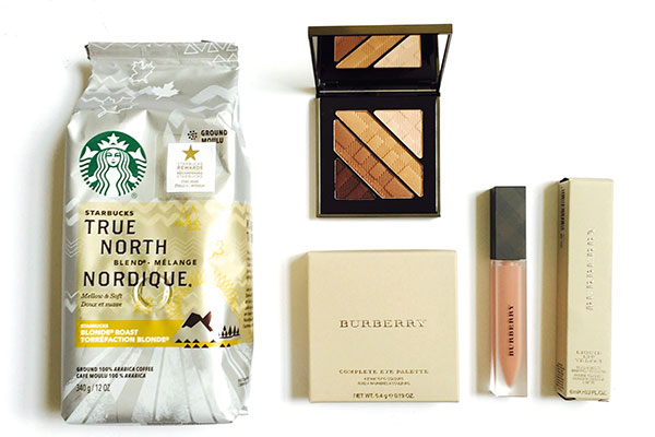 Starbucks True North Blend and Burberry makeup