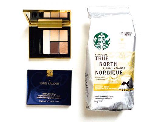 estee lauder eye palette in defiant nude & Starbucks True North blend