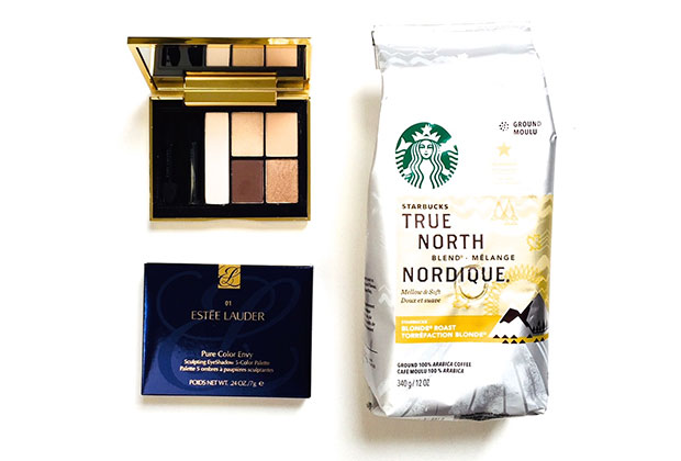 estee lauder eye palette in defiant nude & Starbucks True North blend