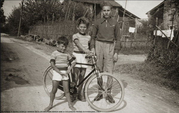 Young Giorgio with is brother and a family friend