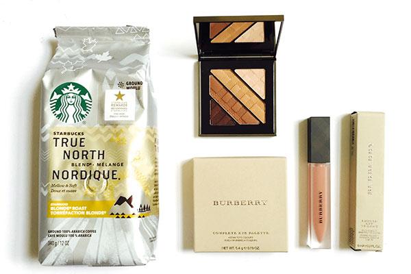 Starbucks True North Blend and Burberry makeup