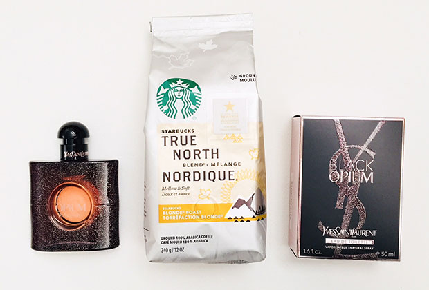 starbucks true north blend and YSL black opium