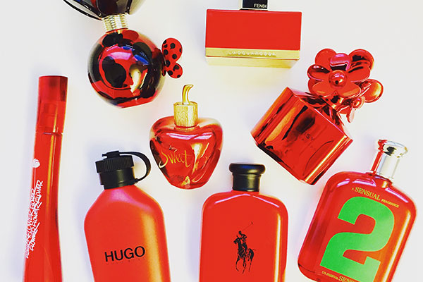 red fragrance bottles