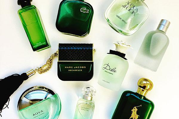 green fragrance bottles