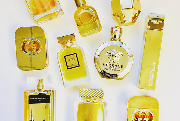 gold fragrance bottles