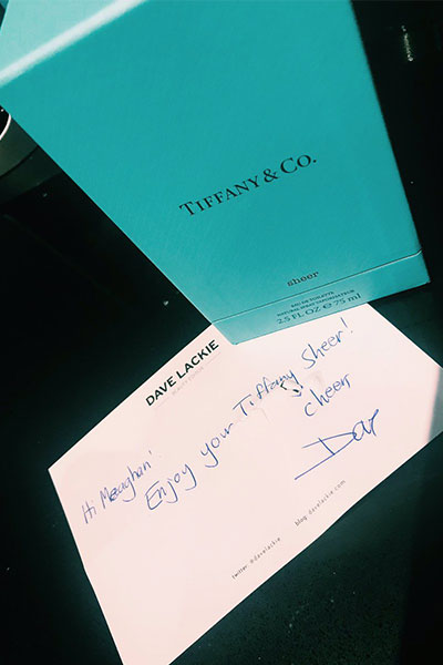 This follower is enjoying her Tiffany fragrance gift