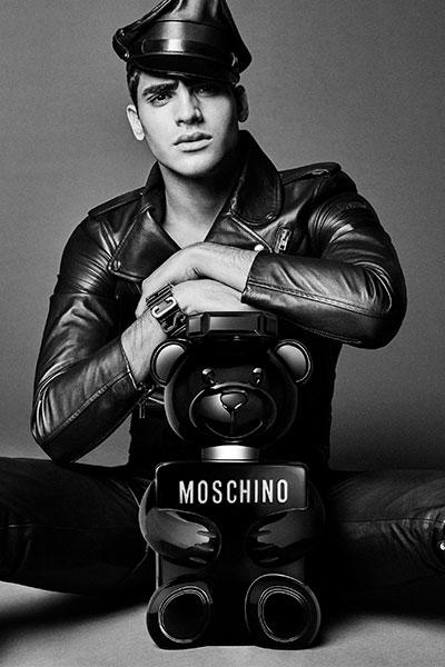 model Jhona Burjack stars in the Moschino Toy Boy campaign