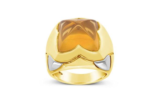 Bvlgari Golden Citrine Pyramid Ring
