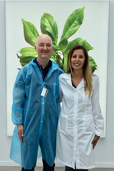 Dave with Clarins' Director of Research Nathalie Issachar